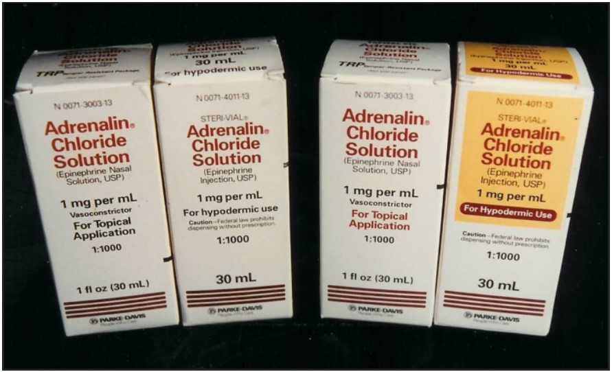 Figure 6. Old Packaging for Topical and Injectable Adrenalin, Left, and the Redesigned Products, Right