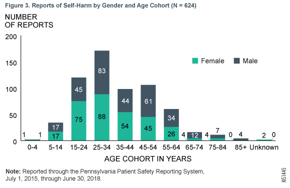 Figure 3. Reports of Self-Harm by Gender and Age Cohort (N = 624)