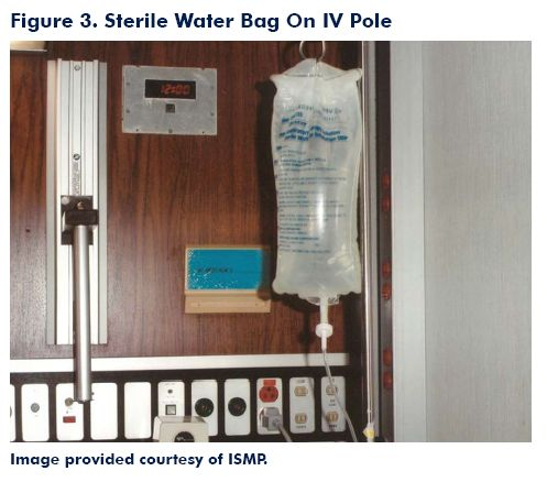 Figure 3. Sterile Water Bag on IV Pole