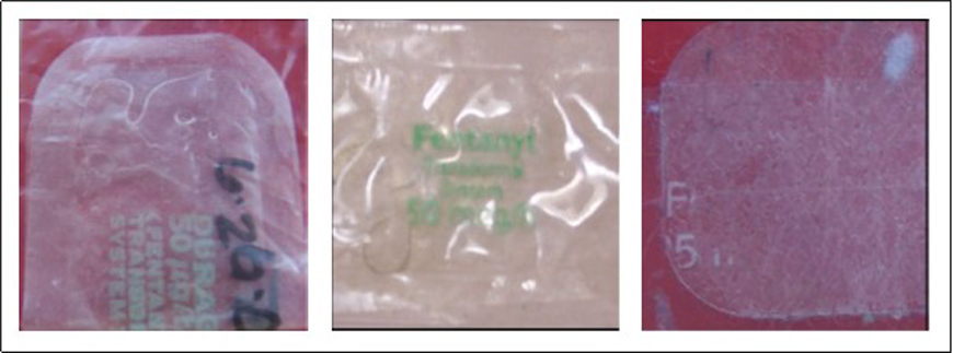 Figure. Clear or Translucent Fentanyl Patches
