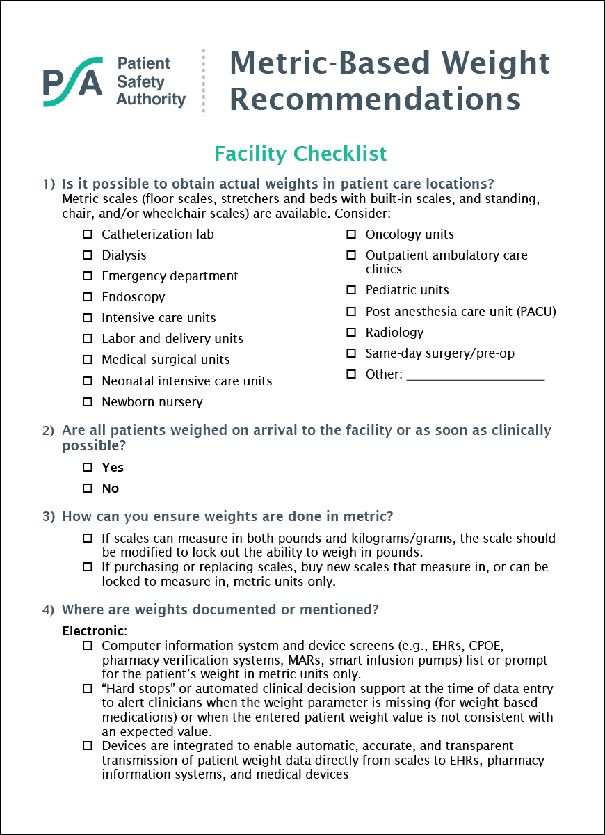 Metric-Based Weight Recommendations: Facility Checklist